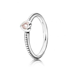 DISCONTINUED PANDORA Pink Heart Beaded Ring